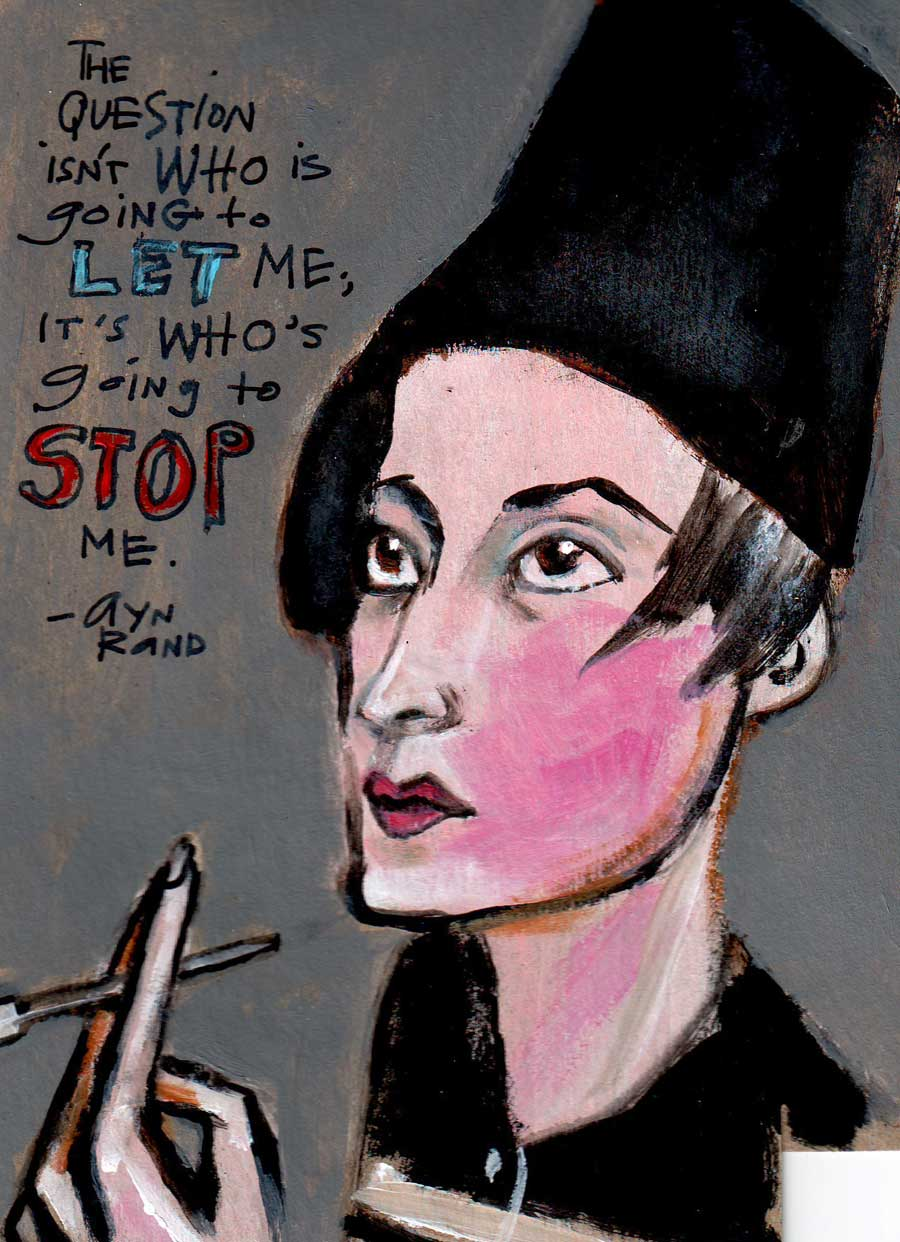 Drawing of Ayn Rand